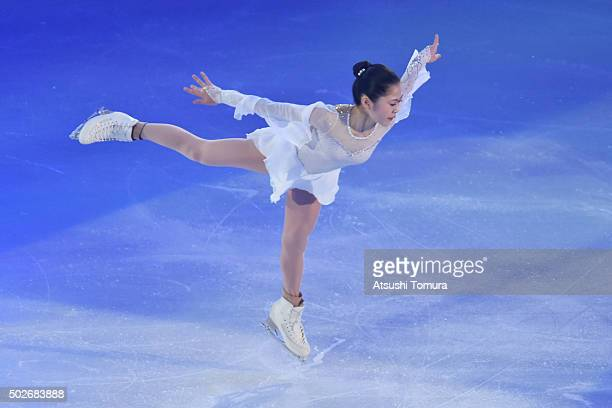 Satoko Miyahara of Japan performs her routine in the exhibition on the day four of the 2015 Japan Figure Skating Championships at the Makomanai Ice...