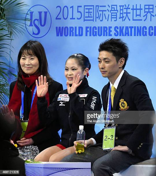 Satoko Miyahara of Japan reacts after competing in the Ladies Free Skating on day four of the 2015 ISU World Figure Skating Championships at Shanghai...