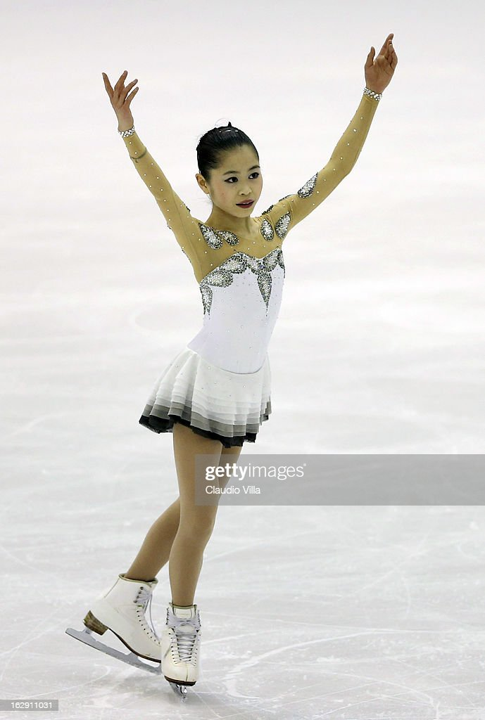 Satoko Miyahara of Japan skates in the Junior Ladies Short Program during day 5 of the ISU World Junior Figure Skating Championships at Agora Arena on March 01, 2013 in Milan, Italy.