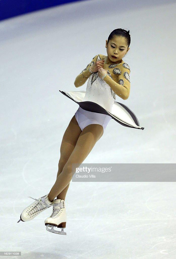 Satoko Miyahara of Japan skates in the Junior Ladies Short Program during day 5 of the ISU World Junior Figure Skating Championships at Agora Arena on March 01, 2013 in Milan, Italy.