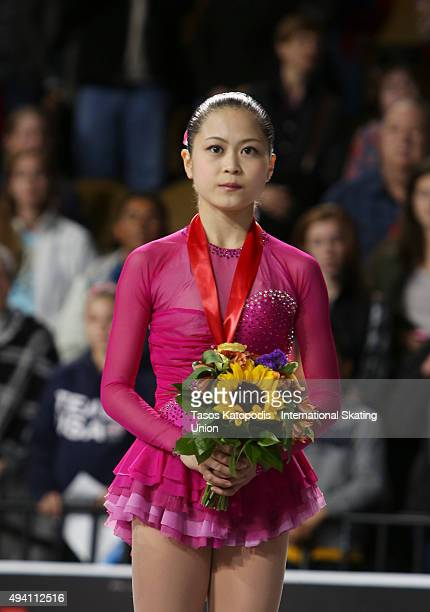 Satoko Miyahara of Japan won thrid place in the ladies skate during day two of the Progressive Skate America ISU Grand Prix of Figure Skating on...