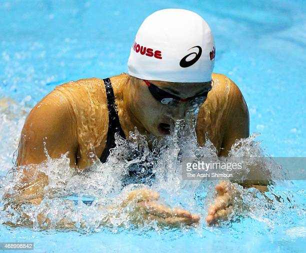 Satomi Suzuki competes in the Women's 100m breaststroke semifinal during day two of the Japan Swim 2015 at Tokyo Tatsumi International Swimming...