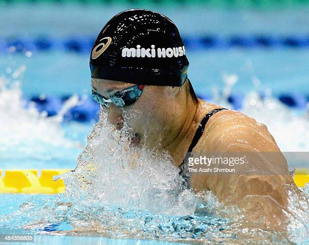 Satomi Suzuki competes in the Women's 50m Breaststroke with new Japan record during day two of the Japan Swim at Tokyo Tatsumi International Swimming...