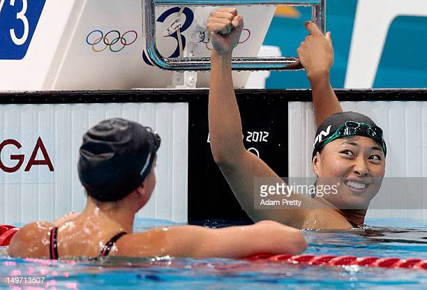 Satomi Suzuki of Japan celebrates after winning silver in the Women's 200m Breaststroke Final on Day 6 of the London 2012 Olympic Games at the...