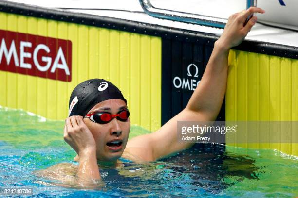 Satomi Suzuki of Japan reacts during the Women's 50m Breaststroke semi final on day sixteen of the Budapest 2017 FINA World Championships on July 29...