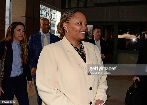 Satonna BallardDeBose mother of plaintiff Brandon DeBose Jr lead cocounsel Marcellus McRae and John Deasy former Superintendent of Los Angeles...