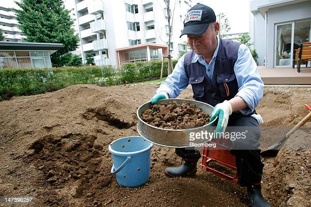 Satoshi Itsukaichi works in a vegetable garden at Kohitsujien Care Home in Kashiwa City Chiba Prefecture Japan on Thursday June 28 2012 Japan ages...