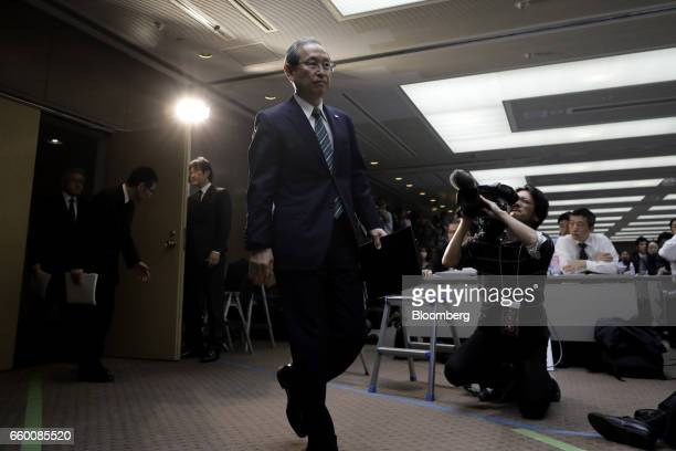 Satoshi Tsunakawa president of Toshiba Corp arrives for a news conference in Tokyo Japan on Wednesday March 29 2017 Toshiba projected its annual loss...