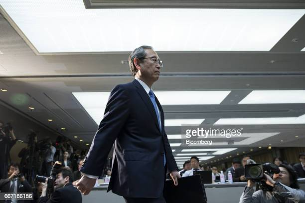 Satoshi Tsunakawa president of Toshiba Corp arrives for a news conference in Tokyo Japan on Tuesday April 11 2017 Toshiba the 142yearold conglomerate...