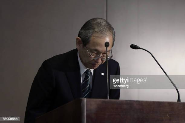 Satoshi Tsunakawa president of Toshiba Corp bows during a news conference in Tokyo Japan on Wednesday March 29 2017 Toshiba projected its annual loss...