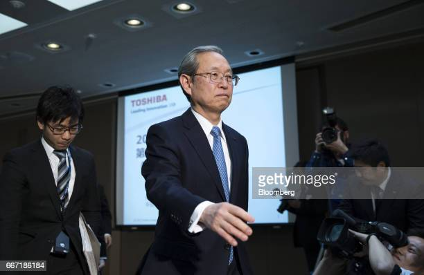 Satoshi Tsunakawa president of Toshiba Corp leaves a news conference in Tokyo Japan on Tuesday April 11 2017 Toshiba the 142yearold conglomerate...