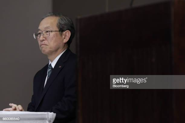 Satoshi Tsunakawa president of Toshiba Corp looks on during a news conference in Tokyo Japan on Wednesday March 29 2017 Toshiba projected its annual...