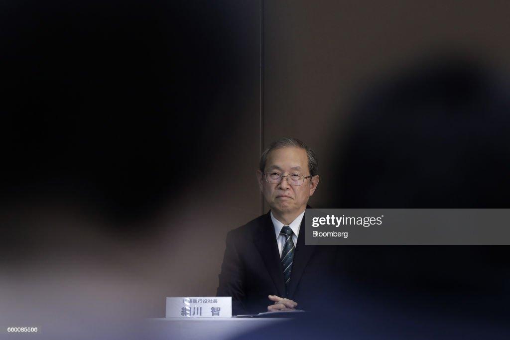 Toshiba Corp. President Satoshi Tsunakawa Attends a News Conference