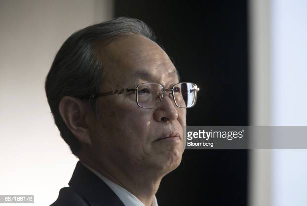 Satoshi Tsunakawa president of Toshiba Corp looks on during a news conference in Tokyo Japan on Tuesday April 11 2017 Toshiba the 142yearold...