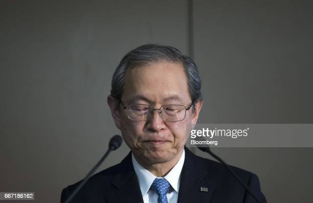 Satoshi Tsunakawa president of Toshiba Corp pauses as he speaks during a news conference in Tokyo Japan on Tuesday April 11 2017 Toshiba the...