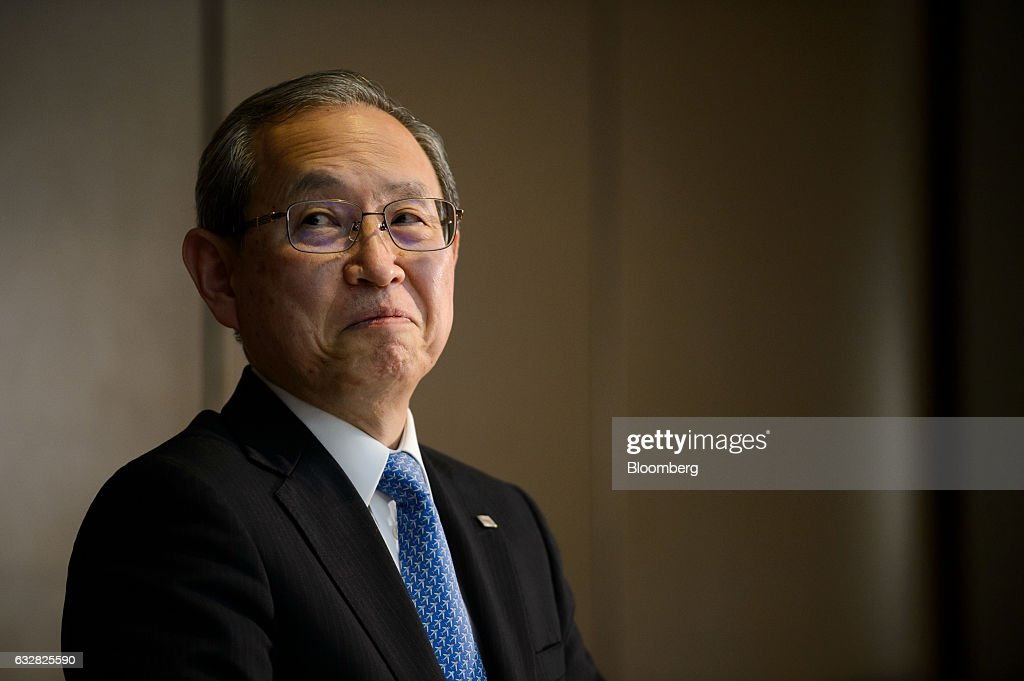 Satoshi Tsunakawa, president of Toshiba Corp., pauses during a news conference in Tokyo, Japan, on Friday, Jan. 27, 2017. Toshiba, facing a multibillion-dollar writedown in its nuclear power division, is reconsidering plans to accept new reactor orders. Photographer: Akio Kon/Bloomberg via Getty Images
