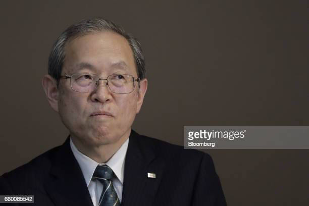 Satoshi Tsunakawa president of Toshiba Corp pauses during a news conference in Tokyo Japan on Wednesday March 29 2017 Toshiba projected its annual...