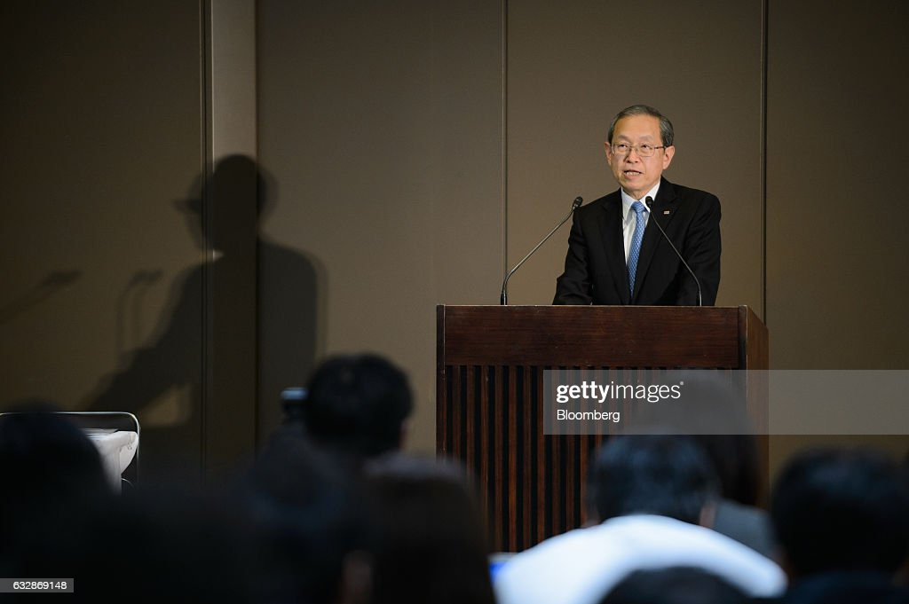 Satoshi Tsunakawa, president of Toshiba Corp., speaks during a news conference in Tokyo, Japan, on Friday, Jan. 27, 2017. Toshiba, facing a multibillion-dollar writedown in its nuclear power division, is reconsidering plans to accept new reactor orders. Photographer: Akio Kon/Bloomberg via Getty Images