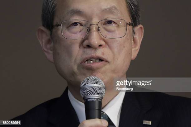 Satoshi Tsunakawa president of Toshiba Corp speaks during a news conference in Tokyo Japan on Wednesday March 29 2017 Toshiba projected its annual...