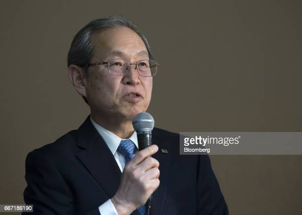 Satoshi Tsunakawa president of Toshiba Corp speaks during a news conference in Tokyo Japan on Tuesday April 11 2017 Toshiba the 142yearold...