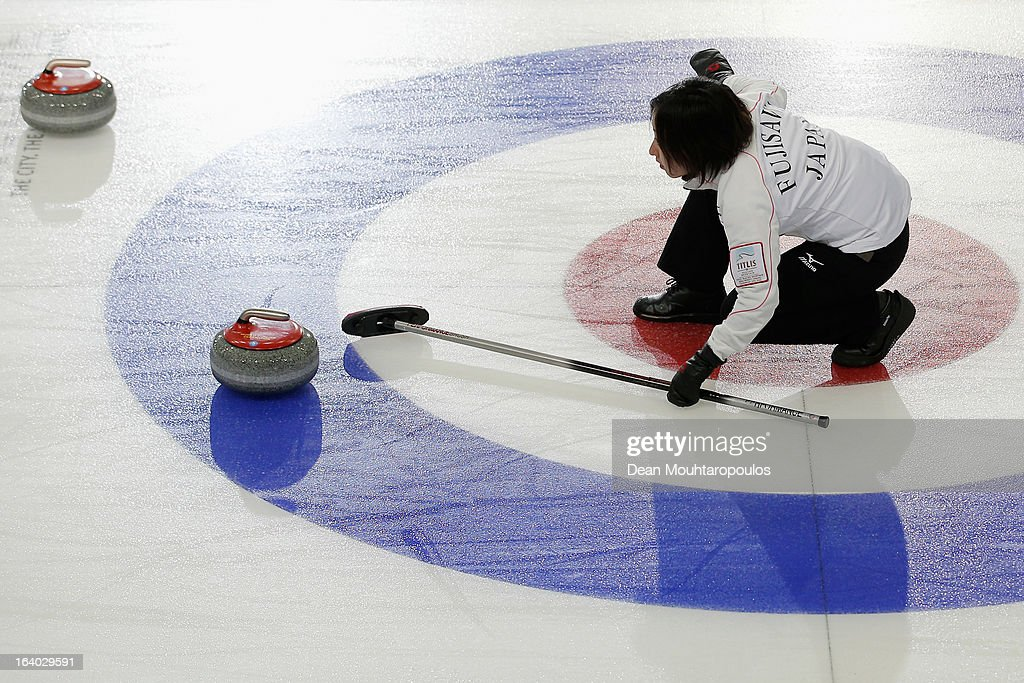 Satsuki Fujisawa of Japan gives team mates instructions in the match between Japan and Italy on Day 4 of the Titlis Glacier Mountain World Women's Curling Championship at the Volvo Sports Centre on March 19, 2013 in Riga, Latvia.