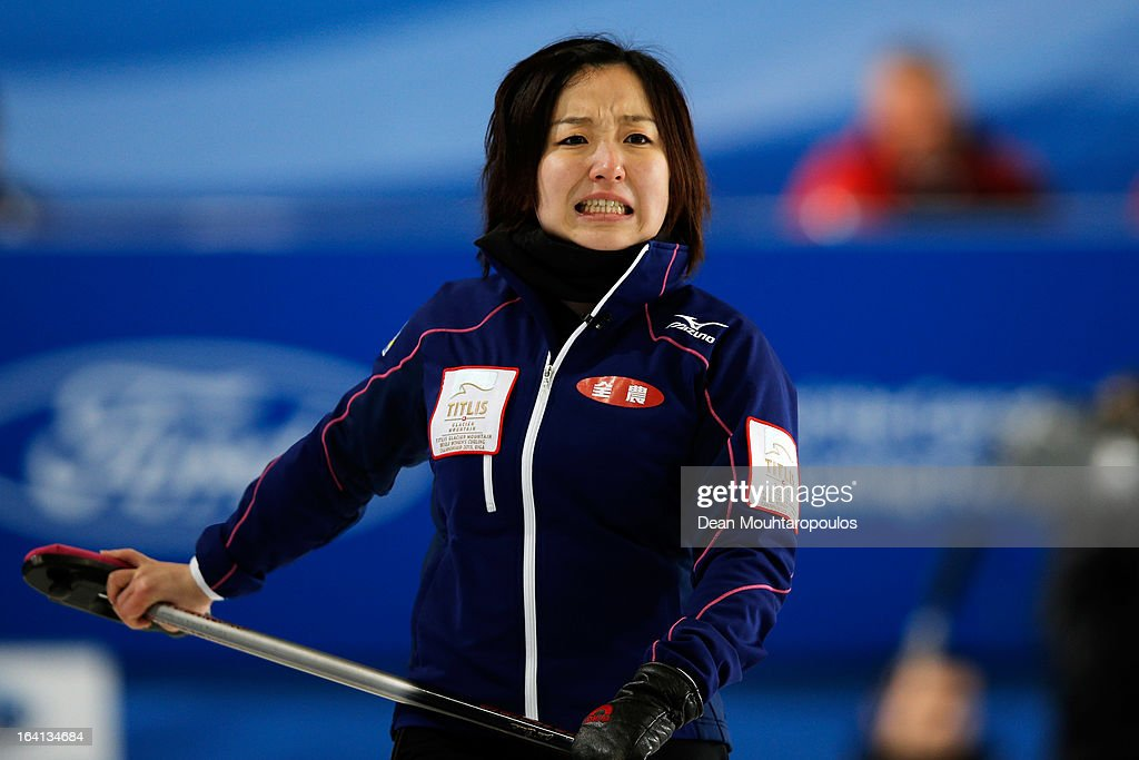 <a gi-track='captionPersonalityLinkClicked' href=/galleries/search?phrase=Satsuki+Fujisawa&family=editorial&specificpeople=10009829 ng-click='$event.stopPropagation()'>Satsuki Fujisawa</a> of Japan reatcs to a missed chance in the match between Japan and Russia on Day 5 of the Titlis Glacier Mountain World Women's Curling Championship at the Volvo Sports Centre on March 20, 2013 in Riga, Latvia.