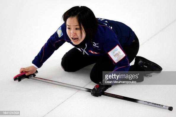 Satsuki Fujisawa of Japan screams instructions to team mates in the match between Japan and Sweden on Day 5 of the Titlis Glacier Mountain World...