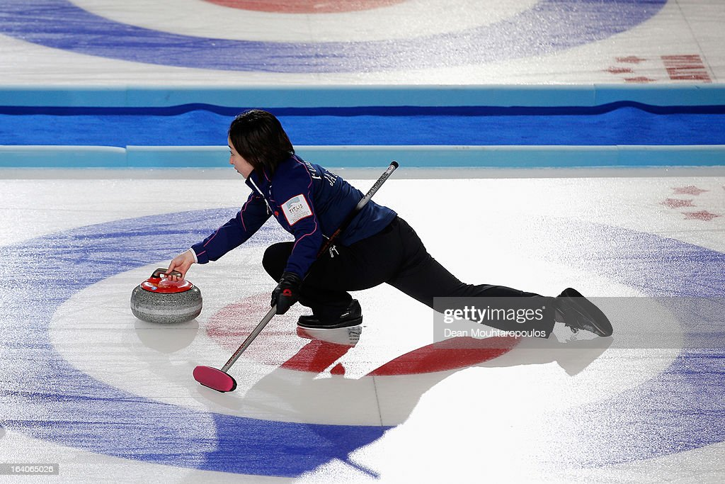 <a gi-track='captionPersonalityLinkClicked' href=/galleries/search?phrase=Satsuki+Fujisawa&family=editorial&specificpeople=10009829 ng-click='$event.stopPropagation()'>Satsuki Fujisawa</a> of Japan throws the stone in the match between Japan and USA on Day 4 of the Titlis Glacier Mountain World Women's Curling Championship at the Volvo Sports Centre on March 19, 2013 in Riga, Latvia.