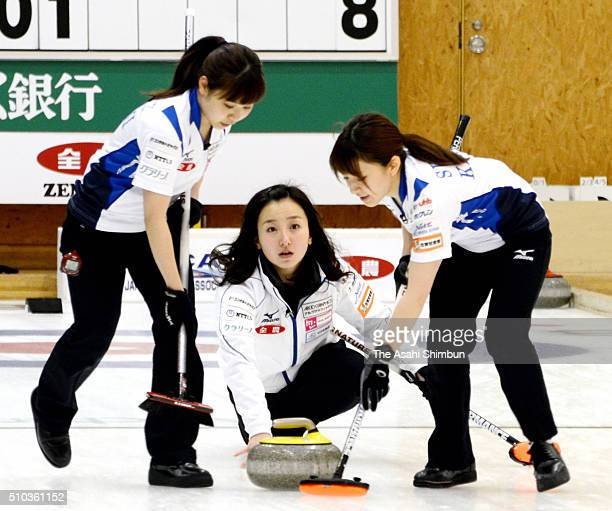Satsuki Fujisawa of Loco Solare delivers a stone during the Women's final against Fujikyu during day eight of the 33rd All Japan Curling...