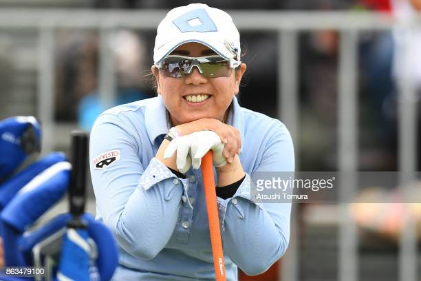 Satsuki Oshiro of Japan smiles during the second round of the Nobuta Group Masters GC Ladies at the Masters Golf Club on October 20 2017 in Miki...