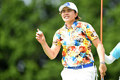 Sattaya of Thailand celebrates after making her birdie putt on the 1st green during the final round of the Century 21 Ladies Golf Tournament 2016 at...