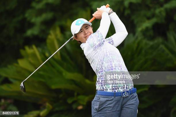 Sattaya of Thailand hits her tee shot on the 17th hole during the final round of the Munsingwear Ladies Tokai Classic 2017 at the Shin Minami Aichi...