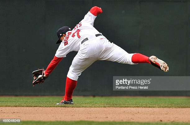 Saturday April 20 2013S=Portland Sea Dogs vs New Britain Rock Cats at Hadlock Field Sea Dog shortstop Xander Bogaerts backhands an infield hit by...