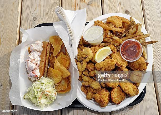 Saturday July 28 2012 Dine Out Maine art at Scutty's Seafood food truck in West Bath Two favorites left is lobster roll with homemade chips and...