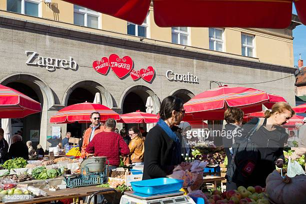 Saturday market in Zagreb Kroatien