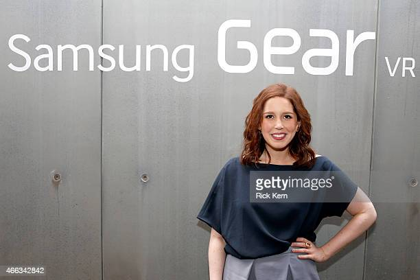 'Saturday Night Live's' Vanessa Bayer stops by the Samsung Studio to view the SNL 40th Anniversary Special virtual reality experience on the Samsung...