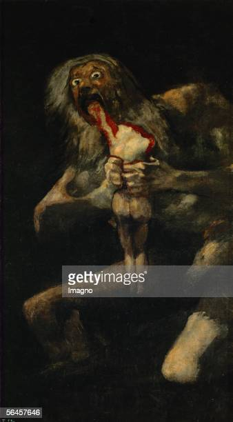 Saturn Devouring His Son From the series of 'Black Paintings' by artist Francisco Goya Oil on canvas 146 x 83 cm Museo del Prado Madrid Inv 763...