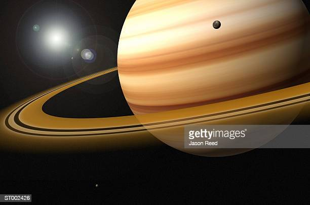 Saturn, Glowing Stars and a Moon of Saturn