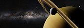 artist's interpretation of the ring planet, space illustration panorama