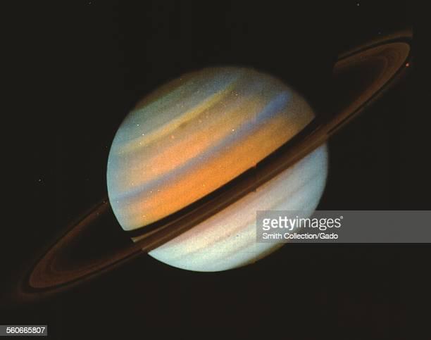 Saturn Voyager 1 image taken from range of 34 million kilometers 1980