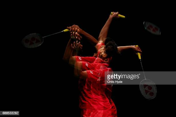 Satwiksairaj Rankireddy of India competes in the mixed doubles Quarter Final match partnered with Ashwini Ponnappa against Lu Kai and Huang Yaqiong...