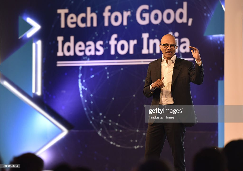 Satya Nadella CEO of Microsoft Corporation during the Microsoft India event Tech for Good, Ideas for India A conversation with young achievers, students, developers and entrepreneurs on May 30, 2016 in New Delhi, India. The India-born CEO, who is on his third visit to his home country since taking over as Microsoft head in February 2014, met Prime Minister Narendra Modi and other ministers to discuss issues pertaining to the IT sector and enhancing partnership for initiatives like Digital India.