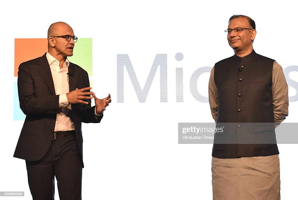 Satya Nadella (L) CEO of Microsoft Corporation with Jayant Sinha (R ) Minister of State for Finance during the Microsoft India event Tech for Good, Ideas for India A conversation with young achievers, students, developers and entrepreneurs on May 30, 2016 in New Delhi, India. The India-born CEO, who is on his third visit to his home country since taking over as Microsoft head in February 2014, met Prime Minister Narendra Modi and other ministers to discuss issues pertaining to the IT sector and enhancing partnership for initiatives like Digital India.