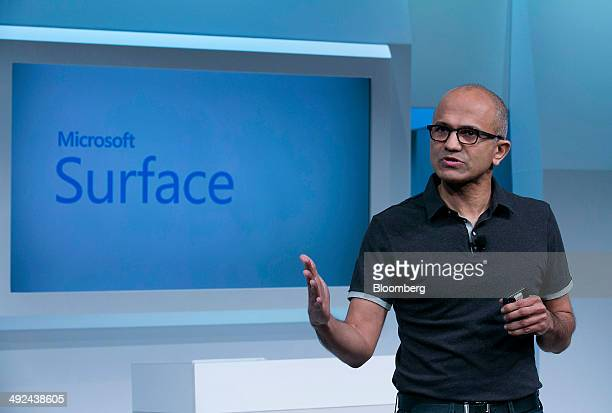 Satya Nadella chief executive officer of Microsoft Corp speaks during the unveiling of the Surface Pro 3 at an event in New York US on Tuesday May 20...