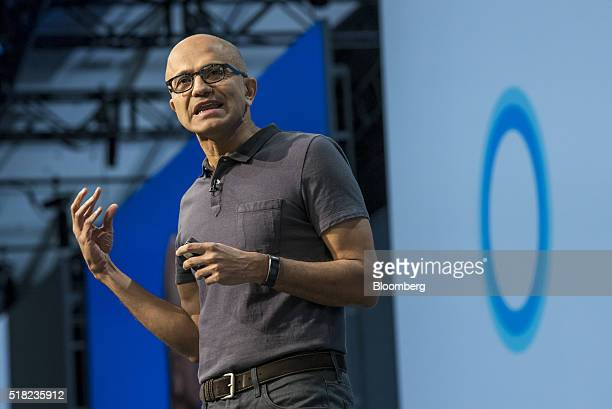 Satya Nadella chief executive officer of Microsoft Corp speaks during a keynote session at the Microsoft Developers Build Conference in San Francisco...