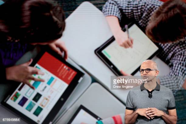 Satya Nadella chief executive officer of Microsoft speaks during a Microsoft launch event to introduce the new Microsoft Surface laptop and Windows...