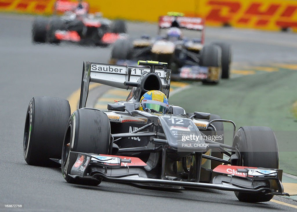 Sauber driver Esteban Gutierrez of Mexico leads a pack through a corner during the Formula One Australian Grand Prix in Melbourne on March 17, 2013. IMAGE RESTRICTED TO EDITORIAL USE - STRICTLY NO COMMERCIAL USE AFP PHOTO / Paul CROCK