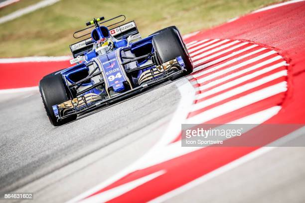 Sauber driver Pascal Wehrlein of Germany races through turn 13 during afternoon practice for the Formula 1 United States Grand Prix on October 20 at...