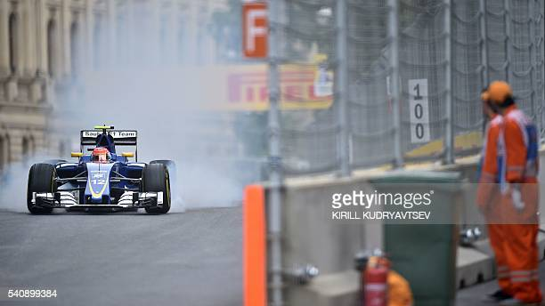 Sauber F1 Team's Brazilian driver Felipe Nasr steers his car at the Baku City Circuit on June 17 2016 in Baku during the first practice session for...