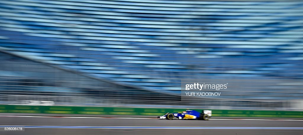 Sauber F1 Team's Brazilian driver Felipe Nasr steers his car during the second practice session of the Formula One Russian Grand Prix at the Sochi Autodrom circuit on April 29, 2016. / AFP / YURI